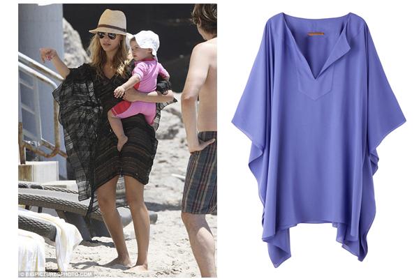 Jessica Alba + Tunica curta Clube Bossa: modelo soltinho perfeito para brincar com as crianças na areia